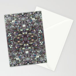 Sparkly colourful silver mosaic mandala Stationery Cards