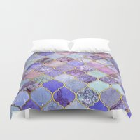 decorative Duvet Covers featuring Royal Purple, Mauve & Indigo Decorative Moroccan Tile Pattern by micklyn