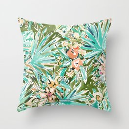 FAN OUT Tropical Palmetto Floral Throw Pillow