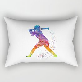 Girl Baseball Softball Batter Sports Art Colorful Watercolor Gift Rectangular Pillow