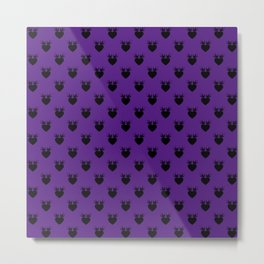 Purple - Hearts and Love Birds Metal Print
