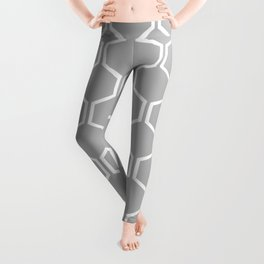 BEAUTY OF NATURE - bee, hexagon, shape, gray Leggings