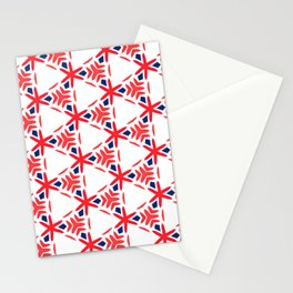 Geometric Origami Red Orange and Blue Stationery Cards