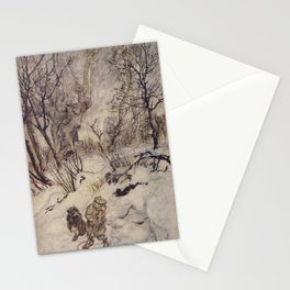 Arthur Rackham - The Wind in the Willows (1940) - Ratty and Mole in the snow Stationery Cards