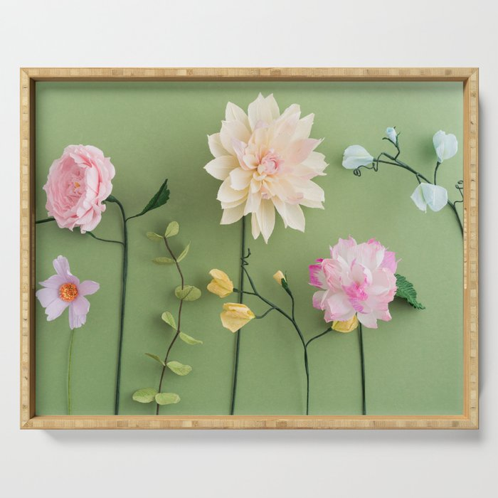 Crepe Paper Flowers Serving Tray By Coelfen