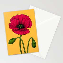 Red poppy drawing Stationery Cards