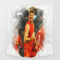 liverpool Wall Tapestries featuring Tribute to My Liverpool Legend #8 Steven Gerrard  by Don Kuing