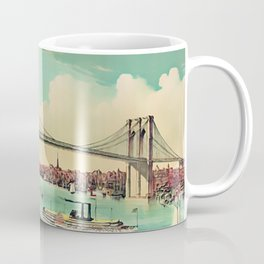 19th Century Portrait of the Brooklyn Bridge and East River, NYC Coffee Mug