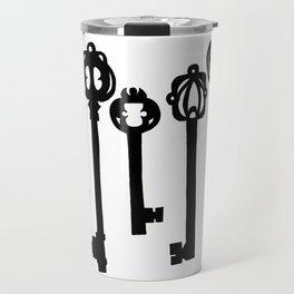Black Ink Keys Illustration Travel Mug