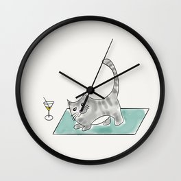 Downward Cat yoga pose Kitty cat with martini Wall Clock