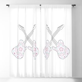 Guitars and ethnic floral mandala in soft pastel colors Blackout Curtain