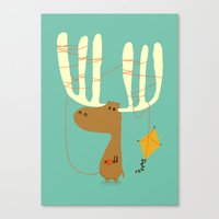 cartoon Canvas Prints featuring A moose ing by Picomodi