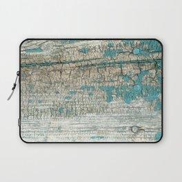 Rustic Wood Turquoise Weathered Paint Wood Grain Laptop Sleeve