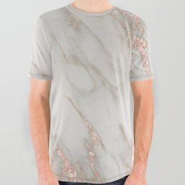Marble Rose Gold Blush Pink Metallic by Nature Magick All Over Graphic Tee