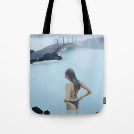 Woman in the Blue Lagoon Iceland Tote Bag