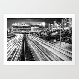 Broncos Stadium at Mile High - Downtown Denver Monochrome Art Print