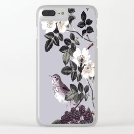 Birds and the Bees Blue Gray Clear iPhone Case