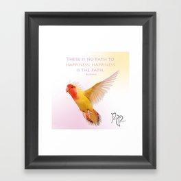 "Posh Parrot ""Happiness- Buddha"" Framed Art Print"