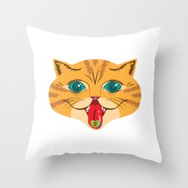 Kiss Me Ginger Cat Throw Pillow