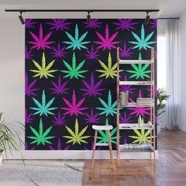 Colorful Marijuana Weed cool tone Wall Mural