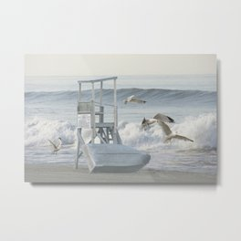 Life Boat and Gulls amidst the Surf Metal Print