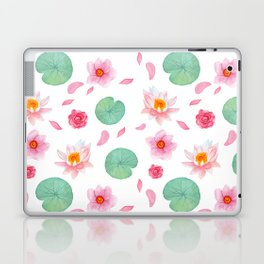 Watercolor blush pink green yellow water lilies lotus floral Laptop & iPad Skin