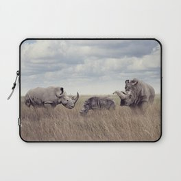 White rhinoceros or square-lipped rhinoceros in the grassland Laptop Sleeve