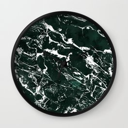 Dark green forest watercolor white marble christmas pattern Wall Clock