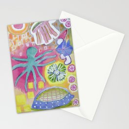 Blue Octopus and white Knight Stationery Cards