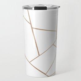 Rose Gold White Geometric Glam #1 #geo #decor #art #society6 Travel Mug