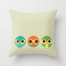 Tres Owls  Throw Pillow