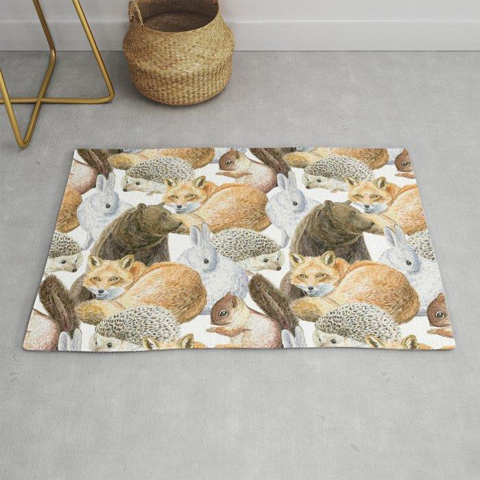 Woodland Animals Pattern Rug By Anyuka