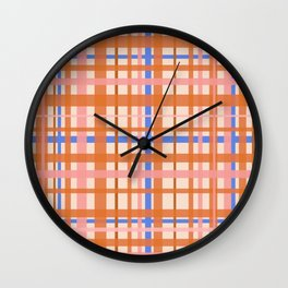 Retro Plaid Pattern in Orange, Pink, and Blue Wall Clock