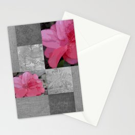 Gray Burlap and Damask with Pink Azaleas - Modern Farmhouse Stationery Cards