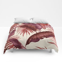 HAWAIIAN GARDEN TROPICAL LEAVES| burgundy ivory Comforters