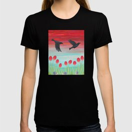 crows, tulips, & snails T-shirt