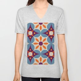 Cement tiles, gemoetric textures, patterns, southern Italy style Unisex V-Neck