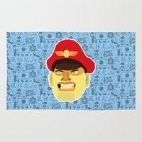 street fighter Area & Throw Rugs featuring Bison - Street Fighter by Kuki