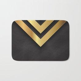 Back and gold geometric design Bath Mat