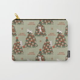 Meowy Christmas, Cats on Xmas Decorated Trees, Vintage Colors, Hand-painted Festive Winter Holiday Fun Cat Pattern Carry-All Pouch