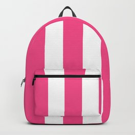 French rose pink - solid color - white vertical lines pattern Backpack