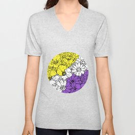 Non binary flowers Unisex V-Neck