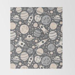Space Black & White Throw Blanket