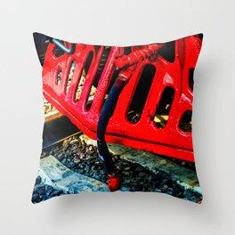 Vintage Steam Engine Locomotive Red Cowcatcher Throw Pillow