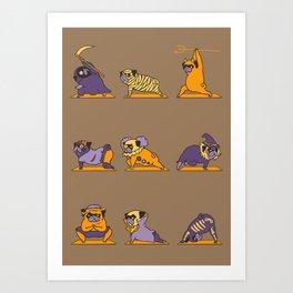 Pug Yoga Halloween Monsters Art Print