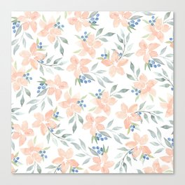 Peach Watercolor Flowers Canvas Print