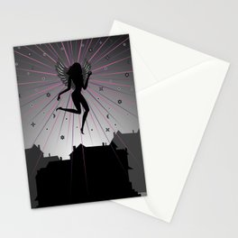 Dark angel soaring over houses Stationery Cards