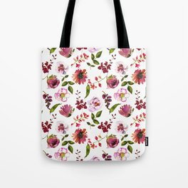 Gentle Scattered Pink and Coral Peonies on White  Tote Bag