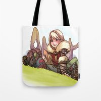 hiccup Tote Bags featuring Hiccup and Astrid by Kiome-Yasha