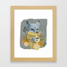 Gray Fox With Mug Framed Art Print